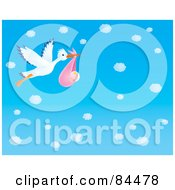 Royalty Free RF Clipart Illustration Of A Stork Flying A Baby Girl Through A Blue Sky With Puffy White Clouds by Alex Bannykh