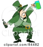 Jolly Leprechaun Holding A Beer Bottle And Mug