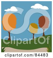 Royalty Free RF Clipart Illustration Of A Background Of A Park With Trees In Autumn