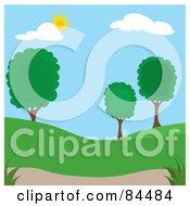 Royalty Free RF Clipart Illustration Of A Sun Shining Down On A Spring Time Park With Trees Version 2