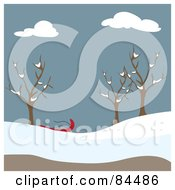 Royalty Free RF Clipart Illustration Of A Sled Under Bare Trees In A Winter Park