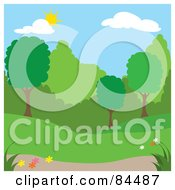 Royalty Free RF Clipart Illustration Of A Sun Shining Down On A Spring Time Park With Trees Version 3