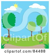 Royalty Free RF Clipart Illustration Of A Sun Shining Down On A Spring Time Park With Trees Version 1