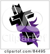 Blank Purple Banner Around A Black Cross