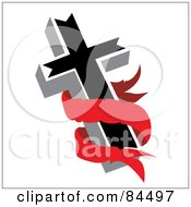 Blank Red Banner Around A Black Cross