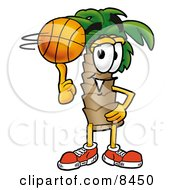Palm Tree Mascot Cartoon Character Spinning A Basketball On His Finger