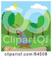 Royalty Free RF Clipart Illustration Of A Black Woman Doing Yoga Stretches In A Park On A Spring Day