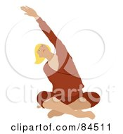 Royalty Free RF Clipart Illustration Of A Brunette Caucasian Woman Sitting Cross Legged On The Floor And Stretching While Doing Yoga by Pams Clipart