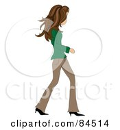 Royalty Free RF Clipart Illustration Of A Casual Brunette Caucasian Woman Walking by Pams Clipart