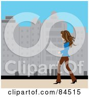 Royalty Free RF Clipart Illustration Of A Casual Brunette Caucasian Woman Walking On A City Sidewalk During The Day
