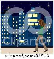 Royalty Free RF Clipart Illustration Of A Casual Brunette Caucasian Woman Walking On A City Sidewalk At Night