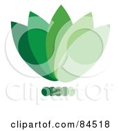 Royalty Free RF Clipart Illustration Of A Gradient Green Floral Logo Design