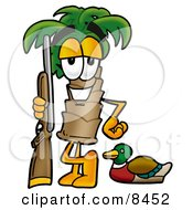 Palm Tree Mascot Cartoon Character Duck Hunting Standing With A Rifle And Duck