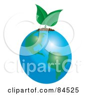 Royalty Free RF Clipart Illustration Of A Green Plant Sprouting From Earth by Pams Clipart