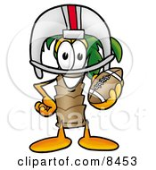 Palm Tree Mascot Cartoon Character In A Helmet Holding A Football by Toons4Biz