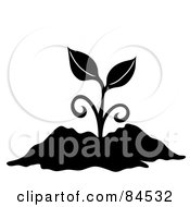 Royalty Free RF Clipart Illustration Of A Black And White Sprouting Plant In Soil
