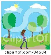 Royalty Free RF Clipart Illustration Of A Brunette Caucasian Woman Walking On A Path Through A Park On A Spring Day by Pams Clipart