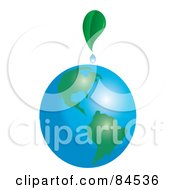 Royalty Free RF Clipart Illustration Of A Green Leaf Dripping Dew On Planet Earth