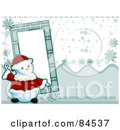 Royalty Free RF Clipart Illustration Of A Christmas Snowman In A Santa Suit By A Frame Over A Snowy Background