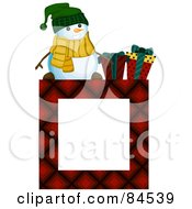Royalty Free RF Clipart Illustration Of A Red Square Christmas Frame With A Snowman And Presents