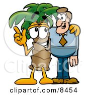 Palm Tree Mascot Cartoon Character Talking To A Business Man