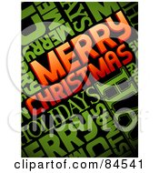 Royalty Free RF Clipart Illustration Of Red And Green Merry Christmas Words On Black