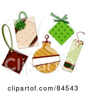 Digital Collage Of Christmas Tags With Ribbons