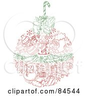 Royalty Free RF Clipart Illustration Of A Red And Green Sketched Christmas Ball With Items by BNP Design Studio