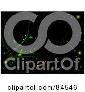 Royalty Free RF Clipart Illustration Of A Black Christmas Background Of Green Vines With Colorful Glowing Orbs