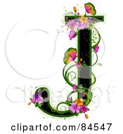 Black Capital Letter J Outlined In Green With Colorful Flowers And Butterflies