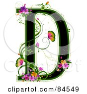 Black Capital Letter D Outlined In Green With Colorful Flowers And Butterflies