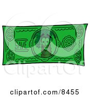 Clipart Picture Of A Palm Tree Mascot Cartoon Character On A Dollar Bill