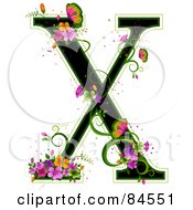 Black Capital Letter X Outlined In Green With Colorful Flowers And Butterflies