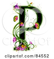 Black Capital Letter P Outlined In Green With Colorful Flowers And Butterflies