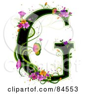 Black Capital Letter G Outlined In Green With Colorful Flowers And Butterflies