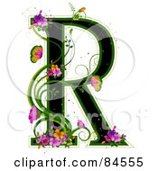 Black Capital Letter R Outlined In Green With Colorful Flowers And Butterflies