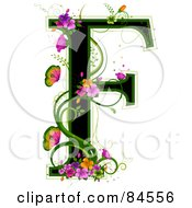 Black Capital Letter F Outlined In Green With Colorful Flowers And Butterflies