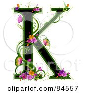 Black Capital Letter K Outlined In Green With Colorful Flowers And Butterflies