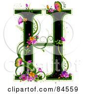 Black Capital Letter H Outlined In Green With Colorful Flowers And Butterflies