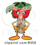 Palm Tree Mascot Cartoon Character Wearing A Red Mask Over His Face
