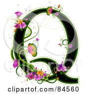 Black Capital Letter Q Outlined In Green With Colorful Flowers And Butterflies