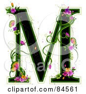 Black Capital Letter M Outlined In Green With Colorful Flowers And Butterflies