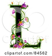 Black Capital Letter L Outlined In Green With Colorful Flowers And Butterflies