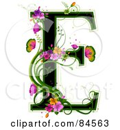 Black Capital Letter E Outlined In Green With Colorful Flowers And Butterflies