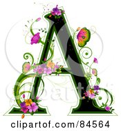 Black Capital Letter A Outlined In Green With Colorful Flowers And Butterflies