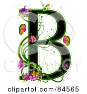 Black Capital Letter B Outlined In Green With Colorful Flowers And Butterflies