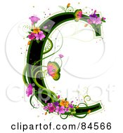 Black Capital Letter C Outlined In Green With Colorful Flowers And Butterflies
