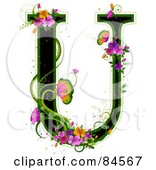 Black Capital Letter U Outlined In Green With Colorful Flowers And Butterflies