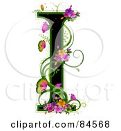 Black Capital Letter I Outlined In Green With Colorful Flowers And Butterflies
