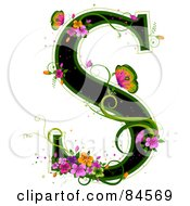 Black Capital Letter S Outlined In Green With Colorful Flowers And Butterflies